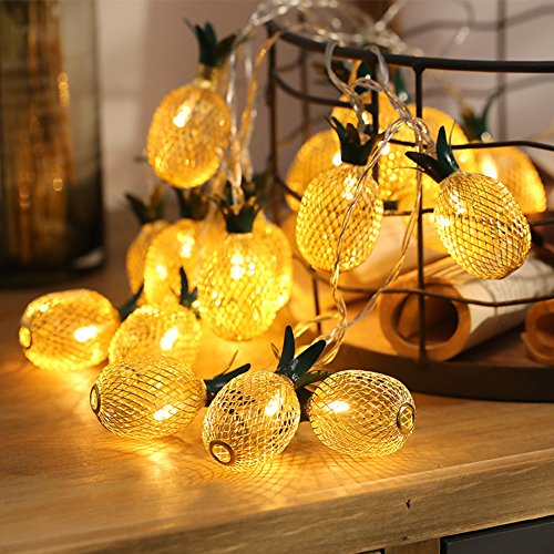 Pineapple String Lights, E-lip 20 LED 9.8FT Battery Operated Fairy String Lights for Hawaiian Luau Party and Tropical Party Home Room Patio Wedding Party Festive Decor(Warm -