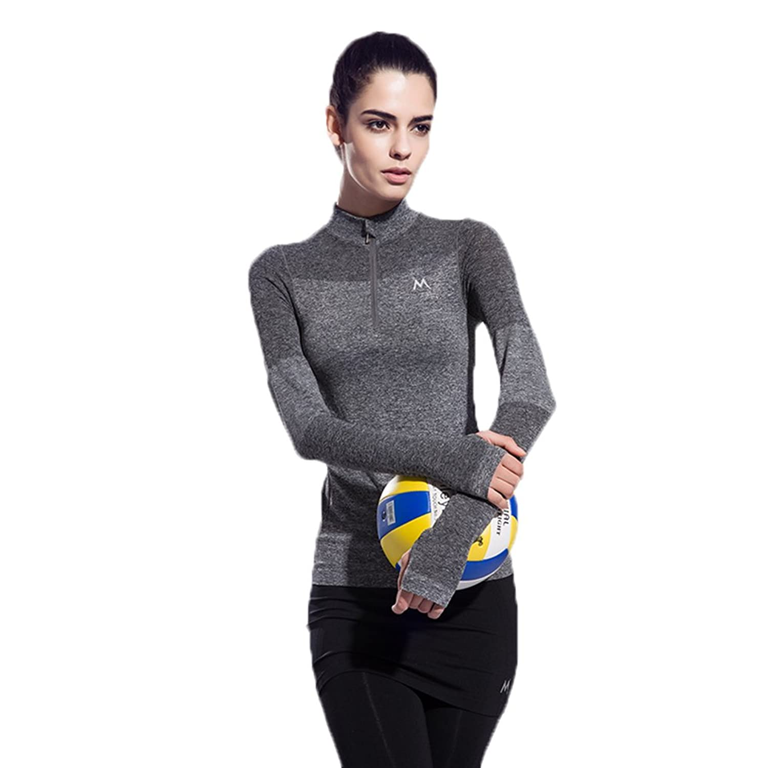 Women's Zipper Long Sleeve Yoga Sweatshirts Workout Fast Dray Tops Winter