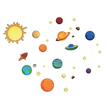Amazon.com: Removable Creative 3D Planet Wall Decals Solar System ...