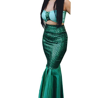 Abetteric Women Fishtail Pure Color Fish Scales Stitching Slim Mermaid Skirt
