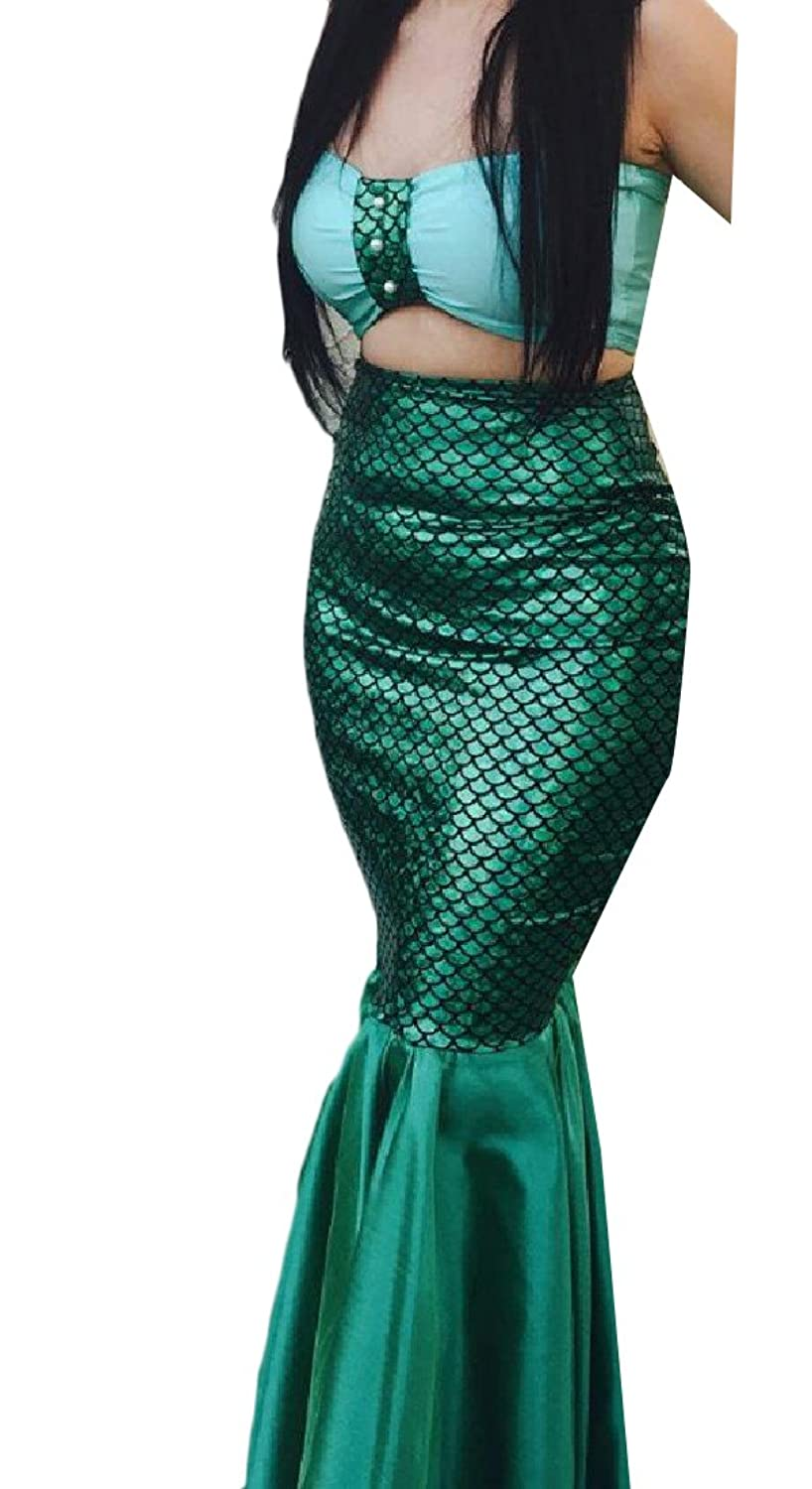 Abetteric Women Fishtail Pure Color Fish Scales Stitching Slim Mermaid Skirt