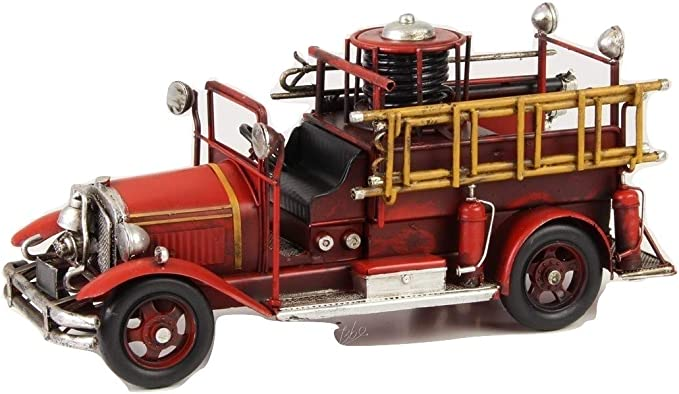Modellautos aus Blech Antik-Vintage-Retro-Style Feuerwehrauto III rot