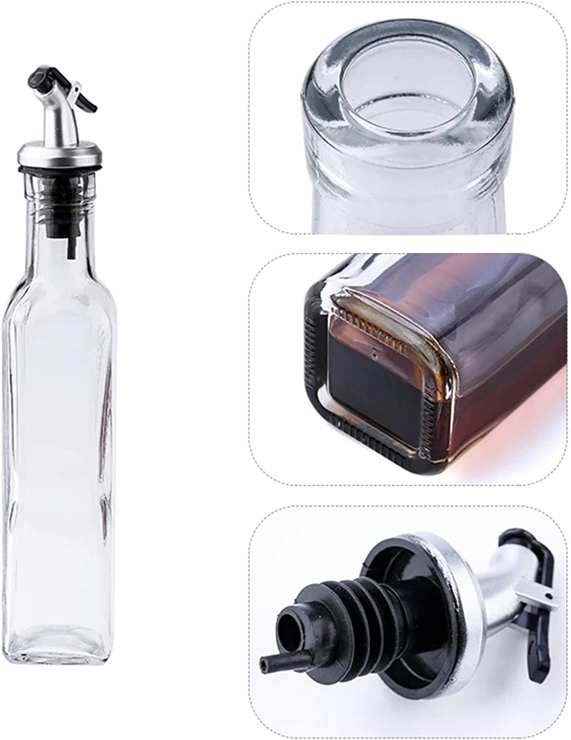 2 Pack Cruet Set with Stainless Steel Pouring Spouts Olive Oil and Vinegar Dispenser Bottles 17 Oz Clear Glass Olive Oil Dispenser