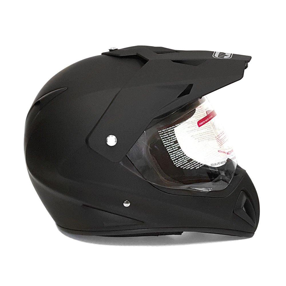 Helmet Dual Sport Off Road Motorcycle Dirt Bike ATV - FlipUp Visor - 27V (L, Matte Black) by MMG (Image #4)
