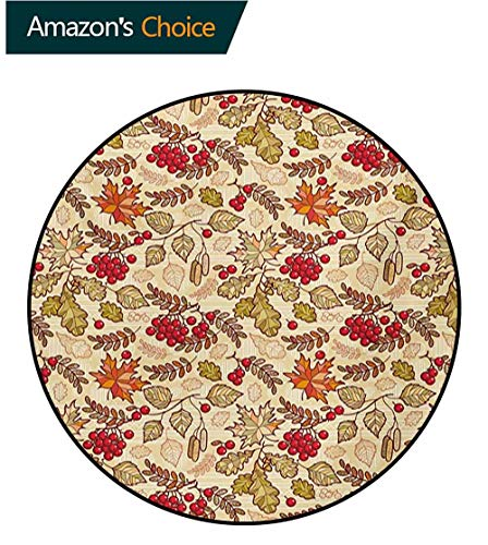 RUGSMAT Rowan Non-Slip Area Rug Pad Round,Fall Season Themed Mixed Pattern with Maple Birch Oak Autumn Leaves and Ashberries Protect Floors While Securing Rug Making Vacuuming,Diameter-47 Inch