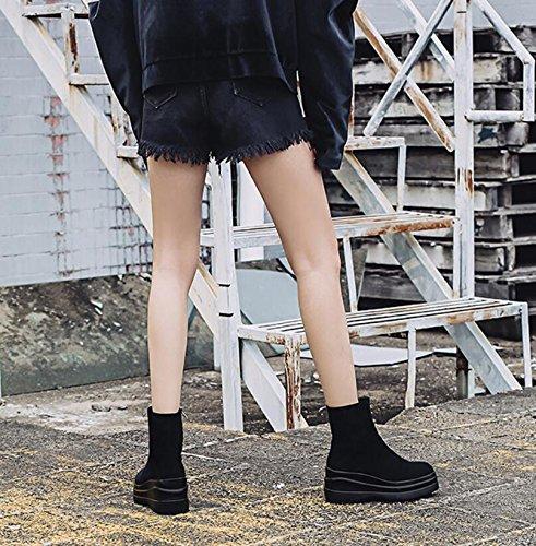 Bottes hautes Chaussures épais et Bottes et Éclair bottes Fermeture Bare new Vache ronde Chaussures bas Martin Tête Unique noir latérale de Khskx en courtes femme ZxaCFqZ