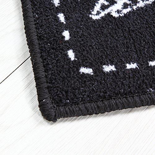 Carvapet 2 Piece Microfiber Non-Slip Kitchen Mat Rubber Backing Doormat Runner Rug Set, Cozinha Design (Black 15''x47''+15''x23'') by Carvapet (Image #5)