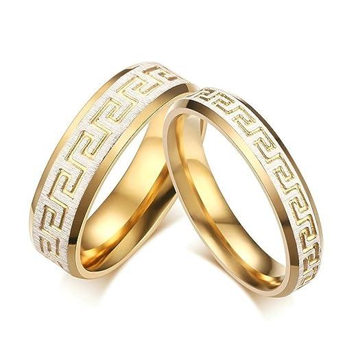 Tianyi inoxidable acero griego clave patrón pareja anillos boda promesa compromiso banda (precio para 1