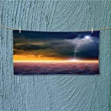 Super Absorbent Towel Apocalyptic Sky View End of The Sky Solar Flames Orange Blue Ideal for Everyday use L27.5 x W11.8 inch