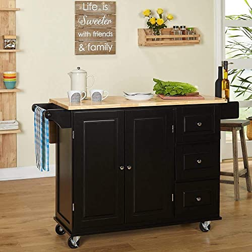 MattsGlobal Traditional Chrome Metal 3-drawer Drop Leaf Kitchen Cart Black/Natural Kitchen Cart