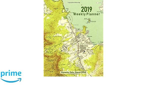 Topographic Map Oahu.2019 Weekly Planner Kaneohe Oahu Hawaii 1954 Vintage Topo Map