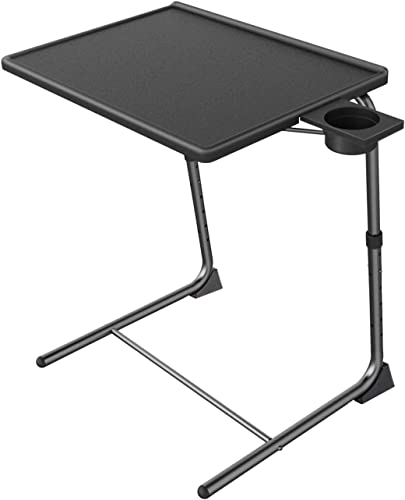 Adjustable TV Tray Table – TV Dinner Tray on Bed Sofa, Comfortable Folding Table with 6 Height 3 Tilt Angle Adjustments by HUANUO