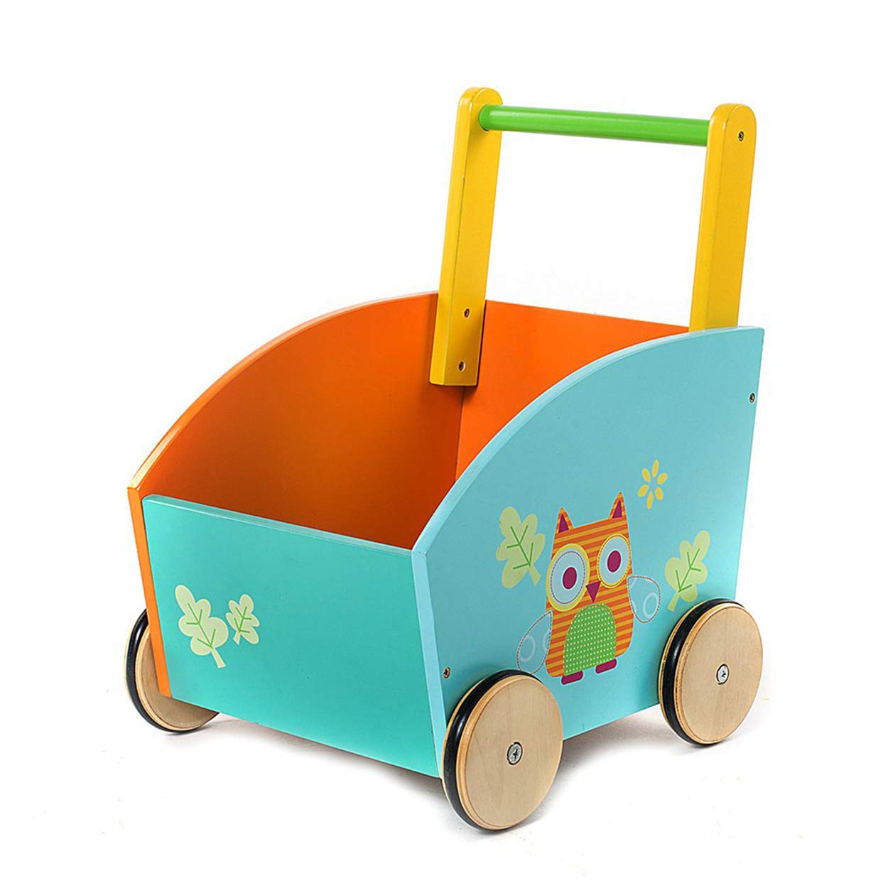 Little Toddler/Baby Push Wooden Learning Walker, Push and Pull Toys for Kids 1 Year and Up - Owl