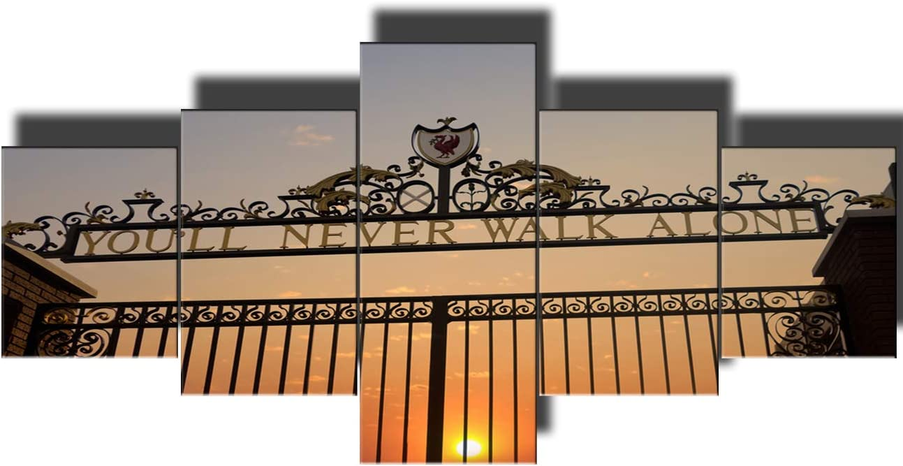 Wall Pictures for Living Room You'll Never Walk Alone Paintings 5 Piece Wall Art Liverpool's Anfield Stadium HD Prints on Canvas Home Decor Modern Artwork Framed Stretched Ready to Hang(50''Wx24''H)