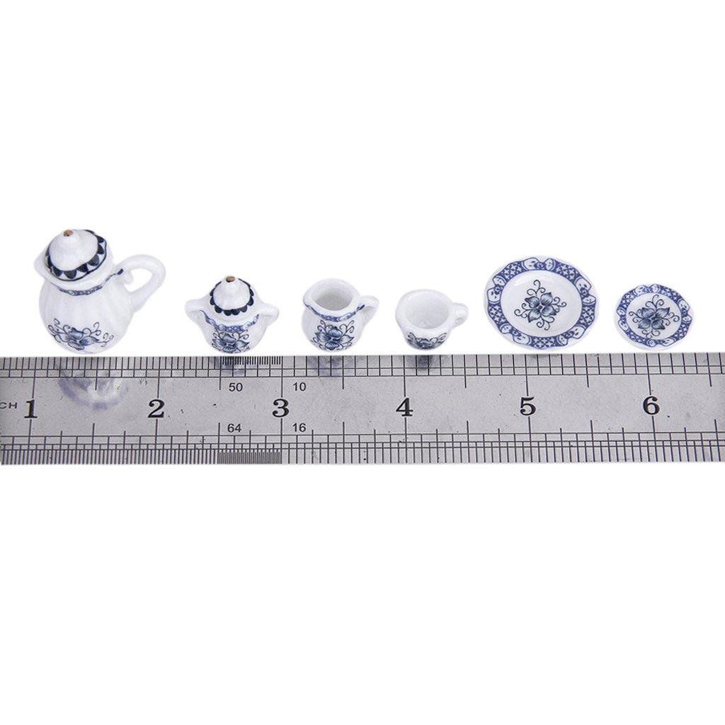 15pcs Casa Delle Bambole In Miniatura Sala Porcellane T/è Piastra Tazza Piatto Set Blu
