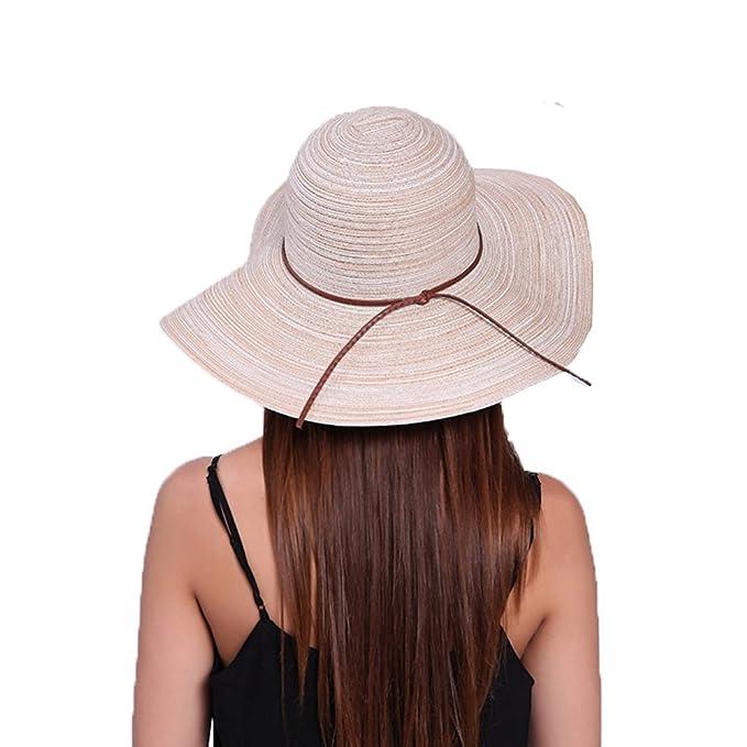 7fdcd8b692c Amazon.com  Newest trent Summer Wide Large Brim Sun Hats Beach Floppy Caps  Foldable Straw Hat For Women  Clothing