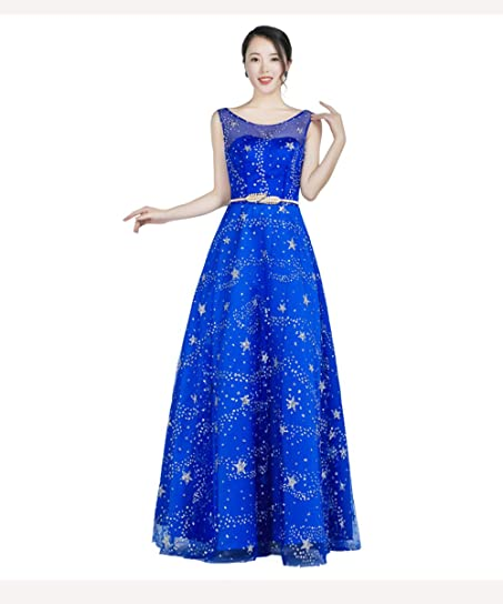Royal Blue Long Evening Dresses Tulle Gown For Elegant Women Formal Party
