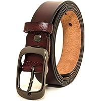 Cinturón de mujer Cinturón de cuero genuino con hebilla de aleación de un solo diente Rojo Negro Marrón