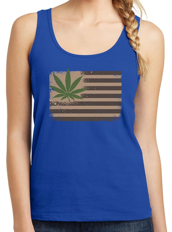 Womens Pot Leaf Flag Graphic Tank Top