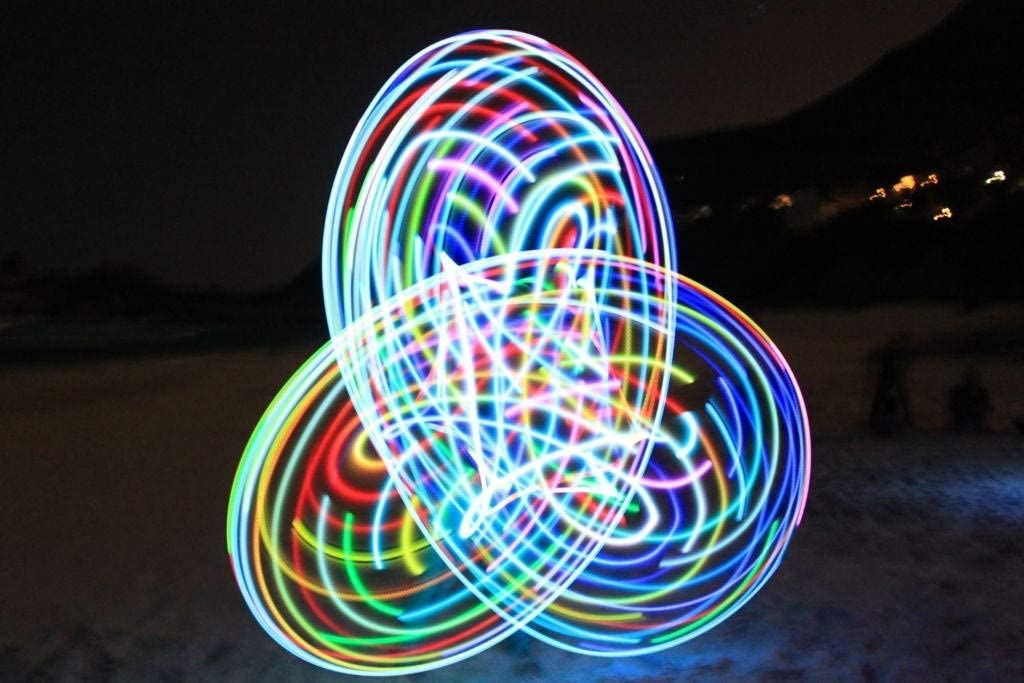 willway 28 inch LED Hoop, 14 LEDs Color Strobing and Changing Hoop for Kids and Adults - Lightweight & Collapsible