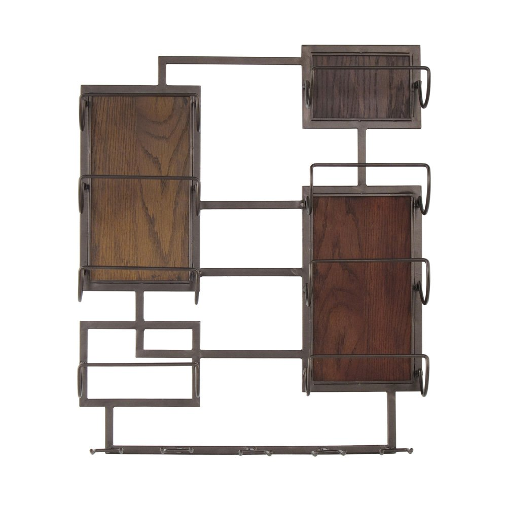 208 Fryar Design 33-WD134 20X24 Metal & Wood 8 Bottle / 5 Glass Wall Mount Wine Storage by 208 Fryar Design