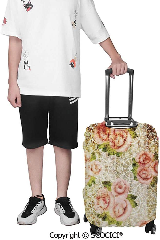 SCOCICI Travel Luggage Cover Suitcase Cover Pattern of Trees Silhouettes Forest Floral Decor Foliage Country Style Print Suitcase Luggage Case Covers Fits 19-32 Inch