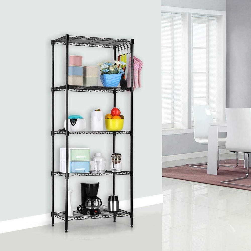 5 Tier Wire Shelving Metal Storage Shelves Heavy Duty Adjustable Shelf Standing for Laundry Bathroom Kitchen Pantry Closet 22x12x60 Black1