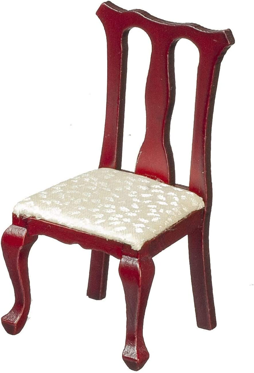 Melody Jane Dollhouse Mahogany Cream Queen Ann Side Chair Miniature Dining Room Furniture