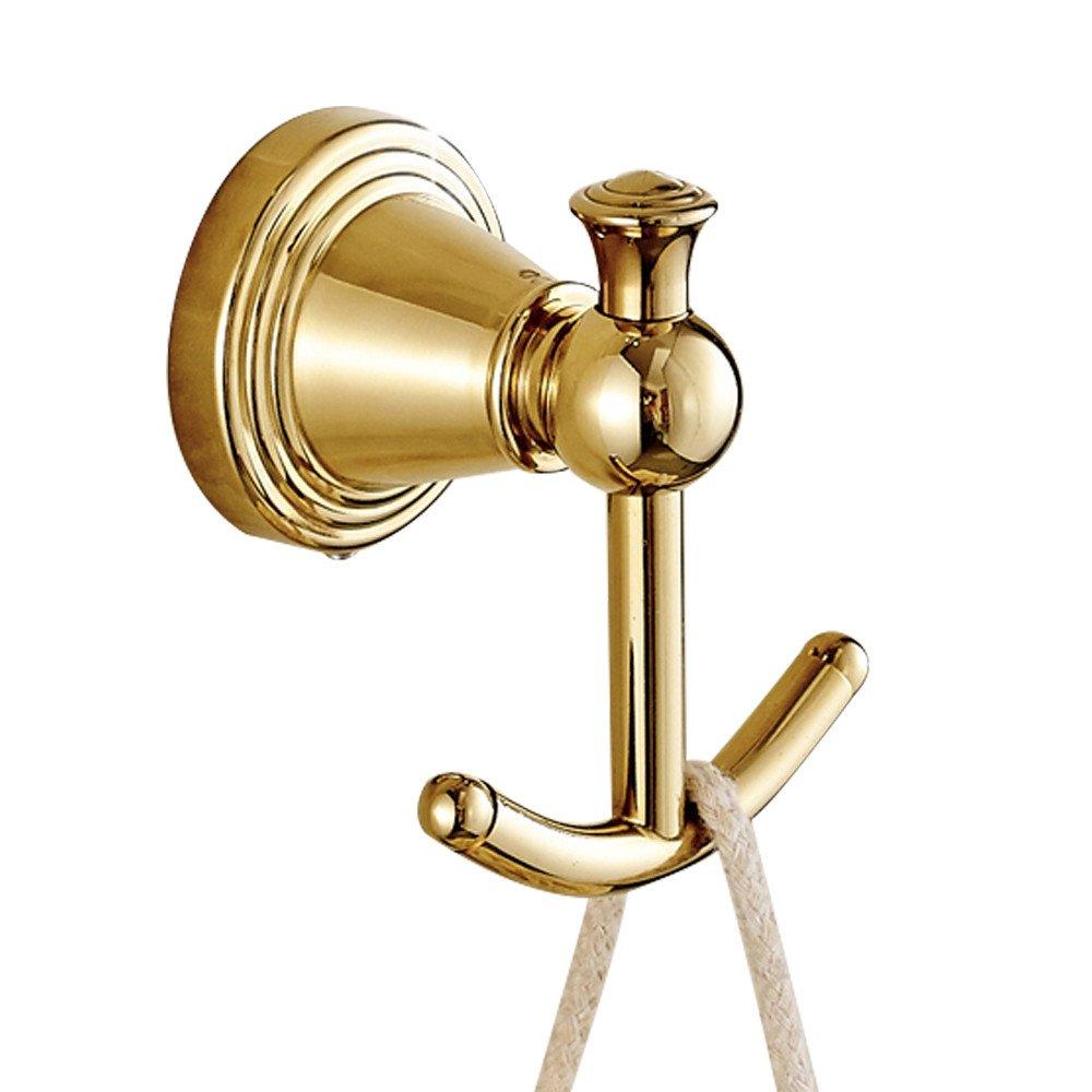 hecho de lat/ón lujo oro pulido acabado superficie para cuarto de ba/ño montado en la pared Europea L60/cm 21/×15.5/×7cm anillo para toalla lat/ón CASEWind una sola barra toallero de barra toallero