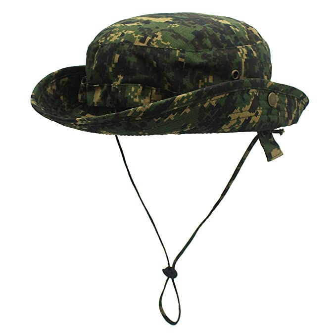 LLmoway Light Weight Camo Sun Hat UV Protection Mens Breathable Bucket Hat  with Strings Army Green d8e37035900
