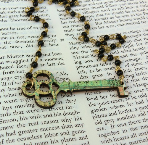 Key Necklace - Made From Recycled Vintage Book Covers (MAP PATTERN)