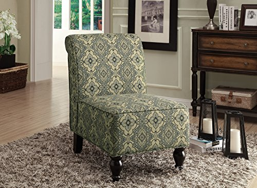 Monarch Tapestry Fabric Traditional Accent Chair, Turquoise/Blue Part 79