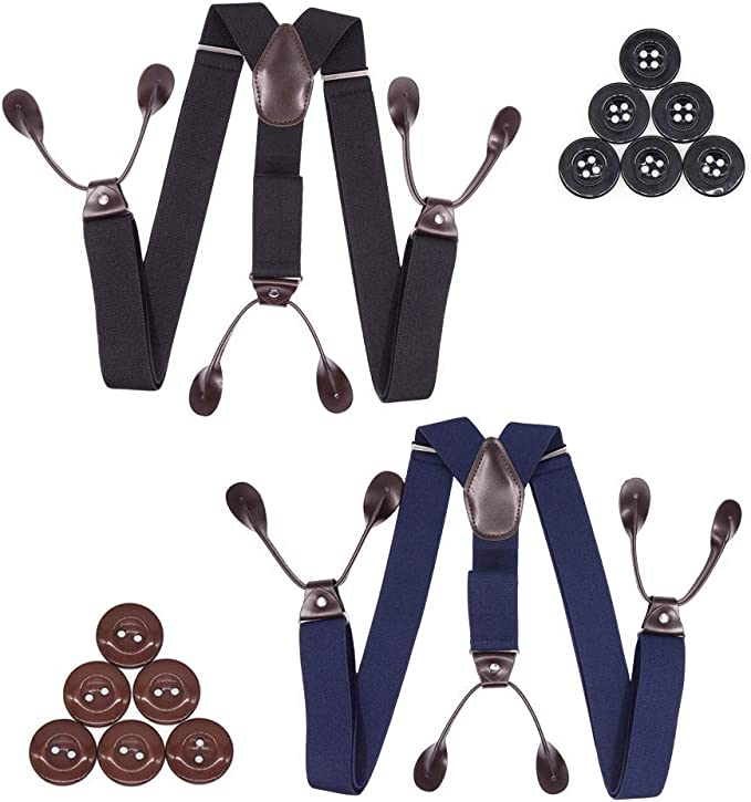 Suspenders for Men Leather Trimmed Button End Elastic Tuxedo Y Back Mens Fashion