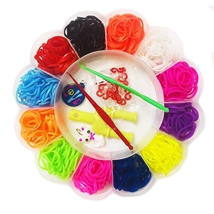 GCFIYPP DIY Rainbow Loom Bands Elastic Hair Ties Rubber Bands Loom Bracelet  Making Kit,Cristmas Crafting Gifts for Girls, Kids (Plum Blossom)