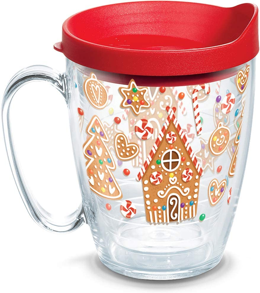 Tervis 1273242 Gingerbread Houses Insulated Tumbler with Wrap and Red Lid  16oz Mug  Clear