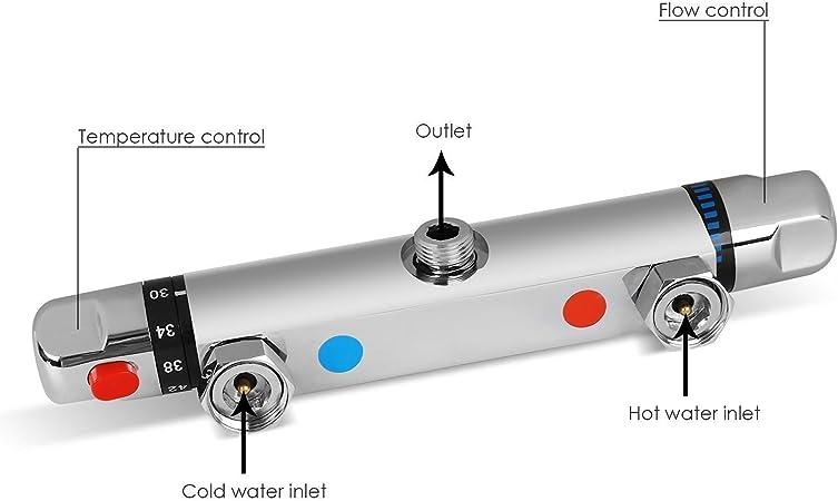 Amzdeal Grifo Termostático Ducha Termostato de Ducha con 38°C Control, Plateado: Amazon.es: Bricolaje y herramientas