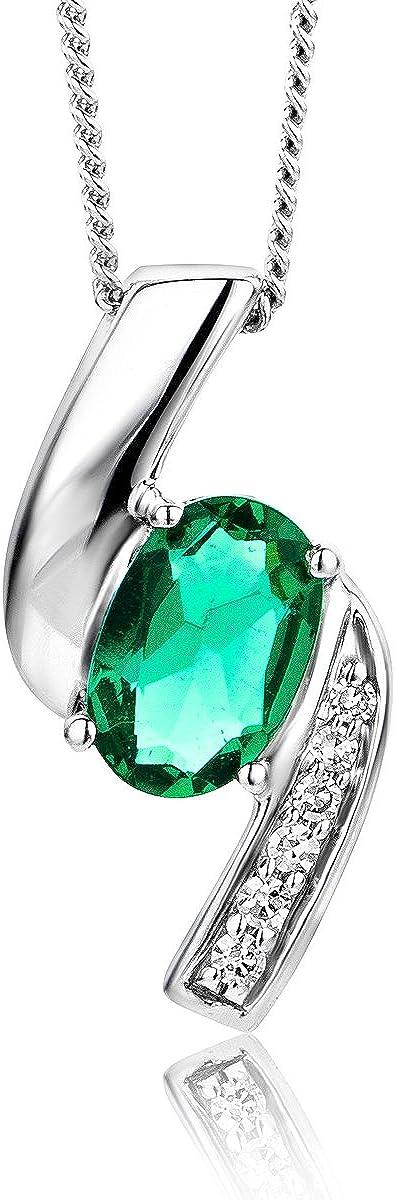 Miore - Collar de diamantes y esmeralda para mujer, oro blanco de 9 quilates (375)