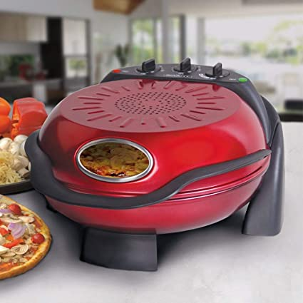 Smart Rotating Stone Grill Pizza Maker Red