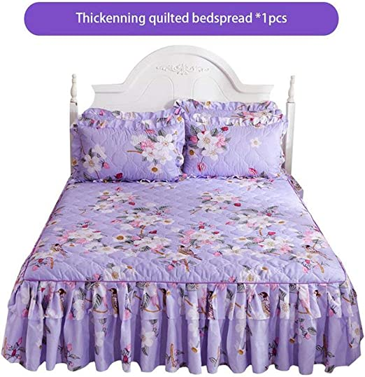 Lace Flower Floral Bed Skirt Pillowcase Dust Ruffle Bedspread King Size Bedding