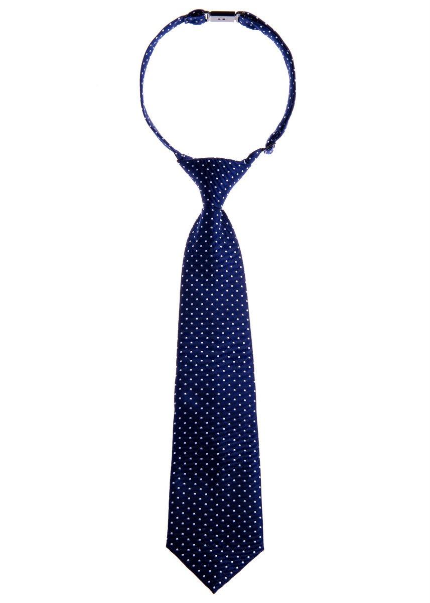 Retreez Modern Mini Polka Dots Woven Microfiber Pre-tied Boy's Tie - Navy Blue with White Dots - 4-7 years