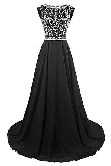 KYD Womens Long Prom Dresses 2018 Evening Gowns Bridesmaid Wedding Guest Dress Beaded (Black 6