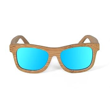 Ynport Bambus-Sonnenbrille für Herren/Damen, klassisches Design, mit Holz beschichtet, Vintage-Stil, Floating Wayfarer,Anthrazit, dunkelbraun