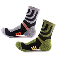 3 Pairs Men Women Hiking Socks - No Blister Terry Cushion, Breathable, Warm, Moisture Wicking, Arch Support, for Outdoor Sports Running Walking Trekking Cycling Camping Golf Gym, Unisex UK Size 3-7