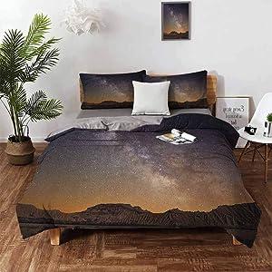 "Mannwarehouse Night Bedspread Coverlet Set, 3 Piece Bedding Set (1 Duvet Cover,2 Pillow Shams) Warm Comforter Cover with Zipper Closure - Queen 90""x90"" Plum Apricot Chocolate"