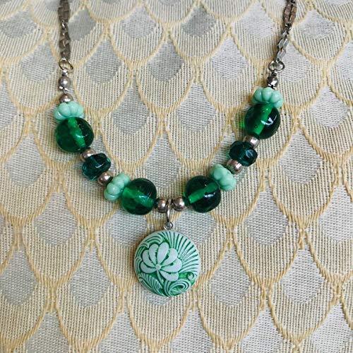 Czech Green Flower Pendant -