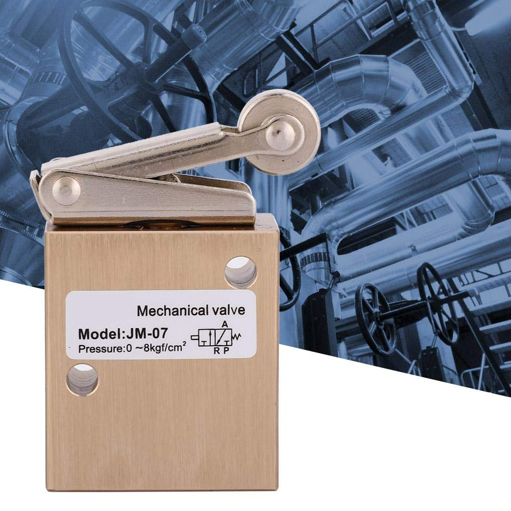 2 Position 3 Way Roller Type Mechanical Pneumatic Valve 1//4 PT 0-8kgf//cm/² Aluminum Alloy Working Medium Air