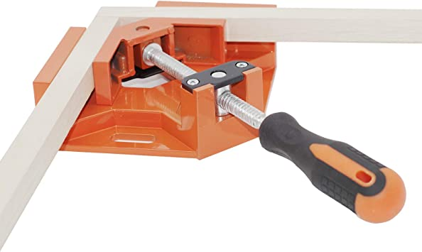 Single Handle 90/° Aluminum Alloy Corner Clamps for Woodworking,Right Angle Clip Clamp Tool for Pictureframe,Photo Frame Vise Holder with Adjustable Swing Jaw Orange 90 Degree Right Angle Clamp