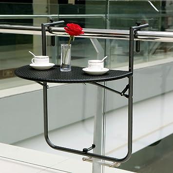 Marvelous IKAYAA Adjustable Folding Balcony Deck Table Hanging Patio Railing Table