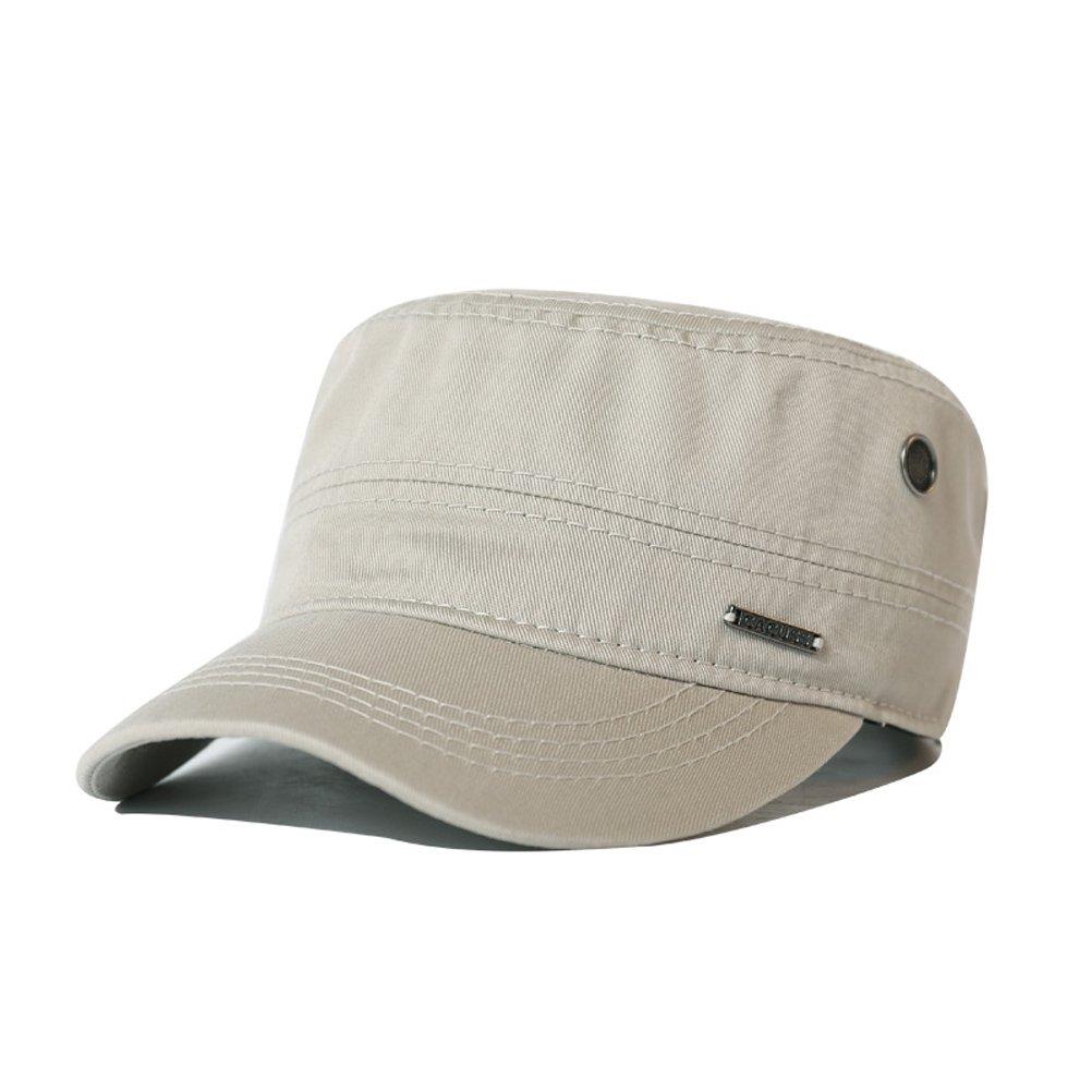 CACUSS Mens Cotton Army Cap Cadet Hat Military Flat Top Adjustable Baseball  Cap P0064Black2 030d04f2014c