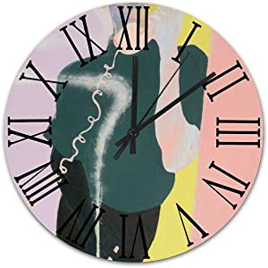 Cheyan Silent Vintage Wooden Round Wall Clock Roman Vintage Chic Style The Living Room,Office,Bedroom and Patio Decor A Woman Answering The Phone